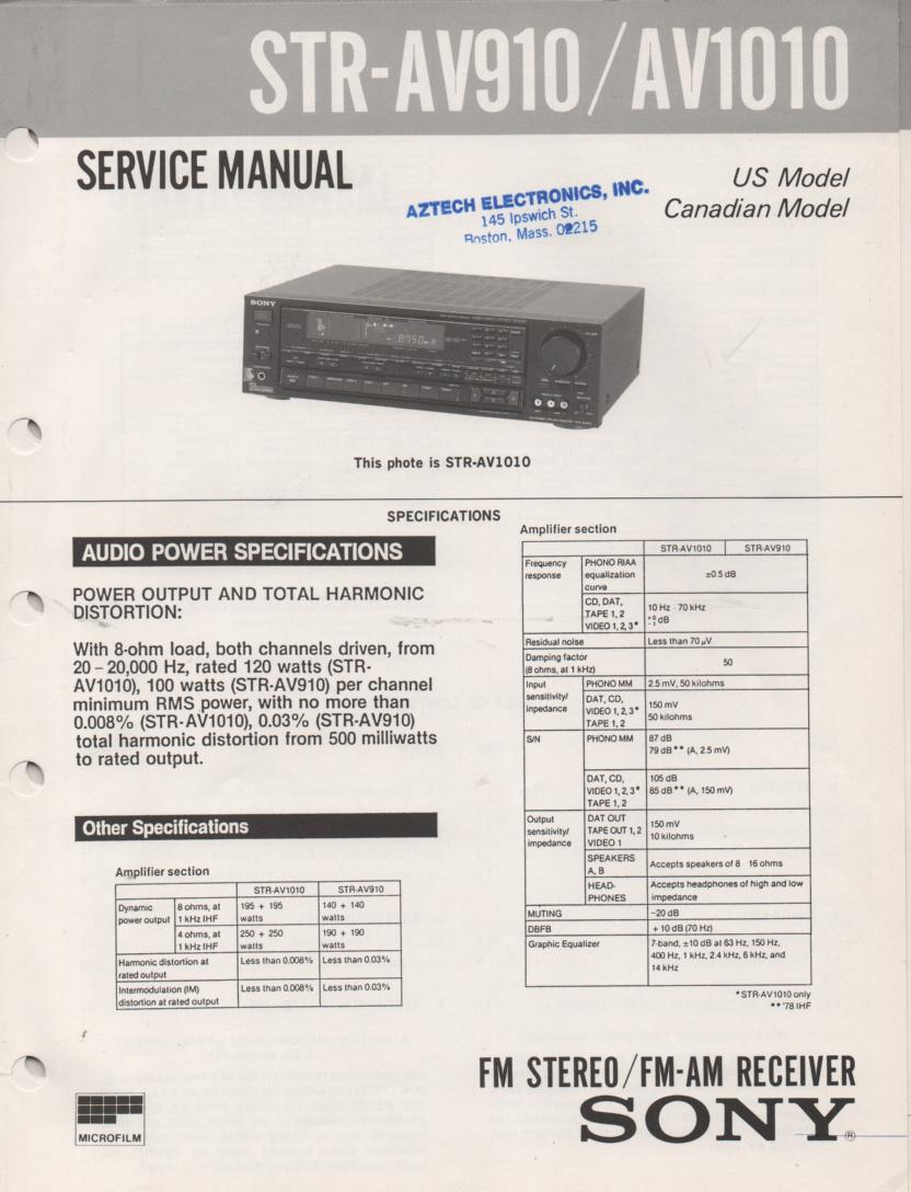 STR-AV910 STR-AV1010 Receiver Service Instruction Manual