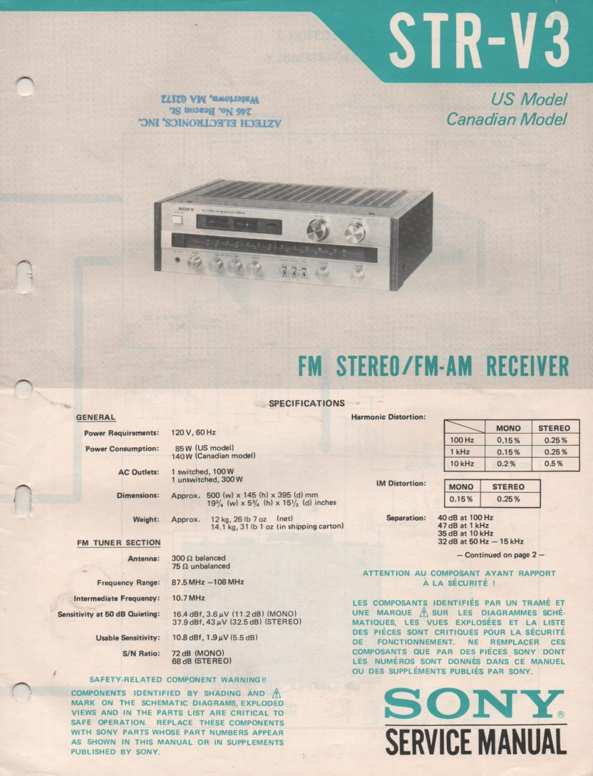 STR-V3 Receiver Service Instruction Manual
