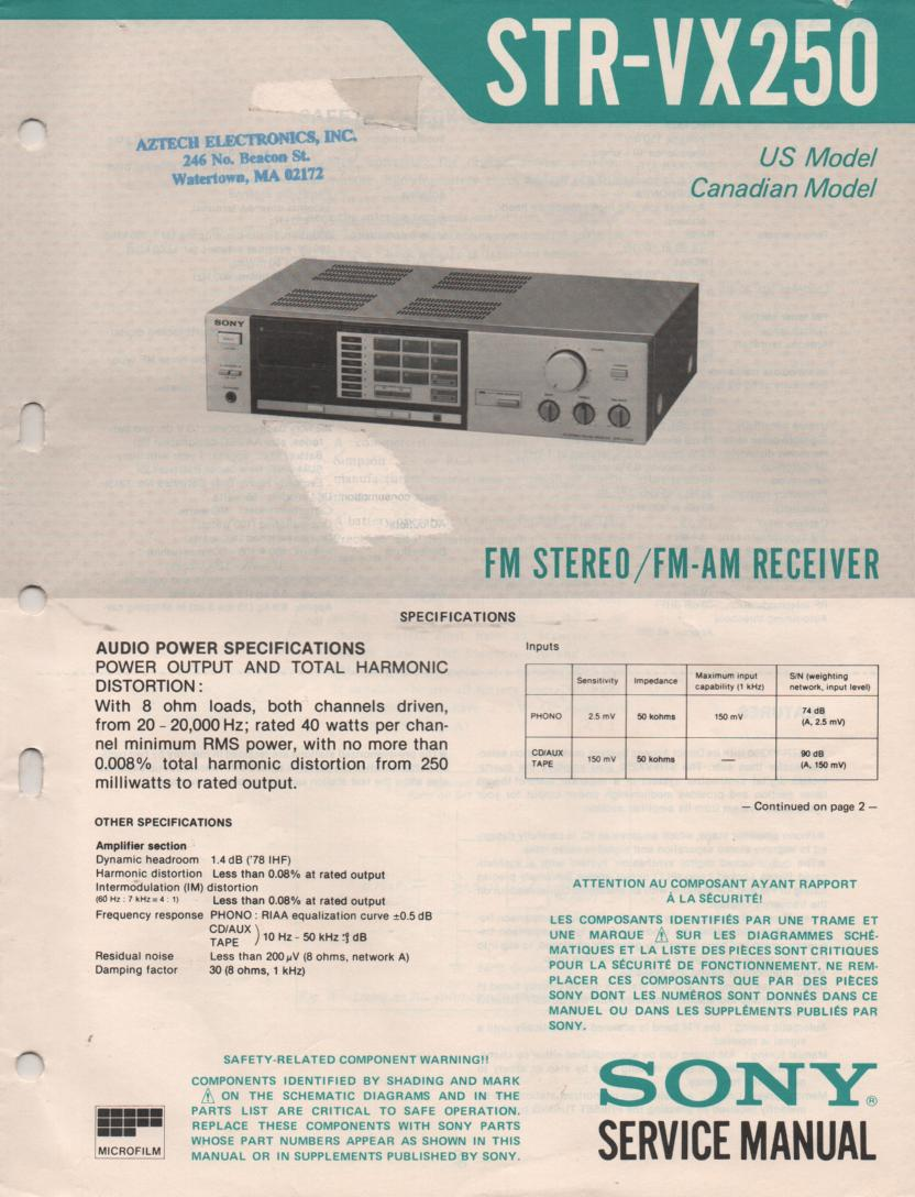 STR-VX250 Receiver Service Instruction Manual
