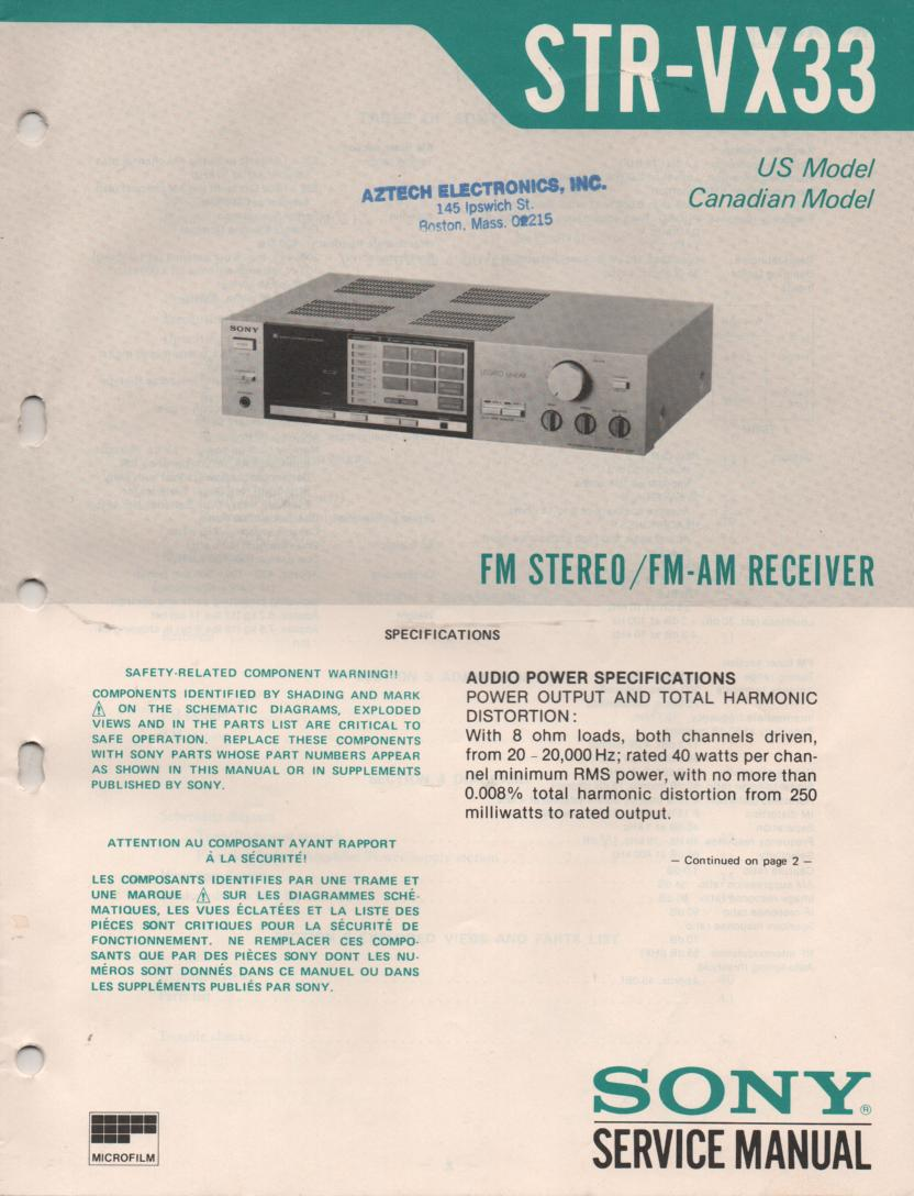 STR-VX33 Receiver Service Instruction Manual