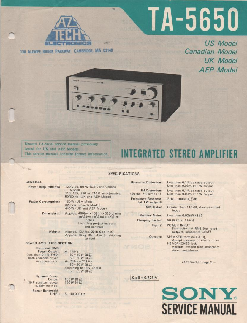 TA-5650 Integrated Stereo Amplifier Service Instruction Manual