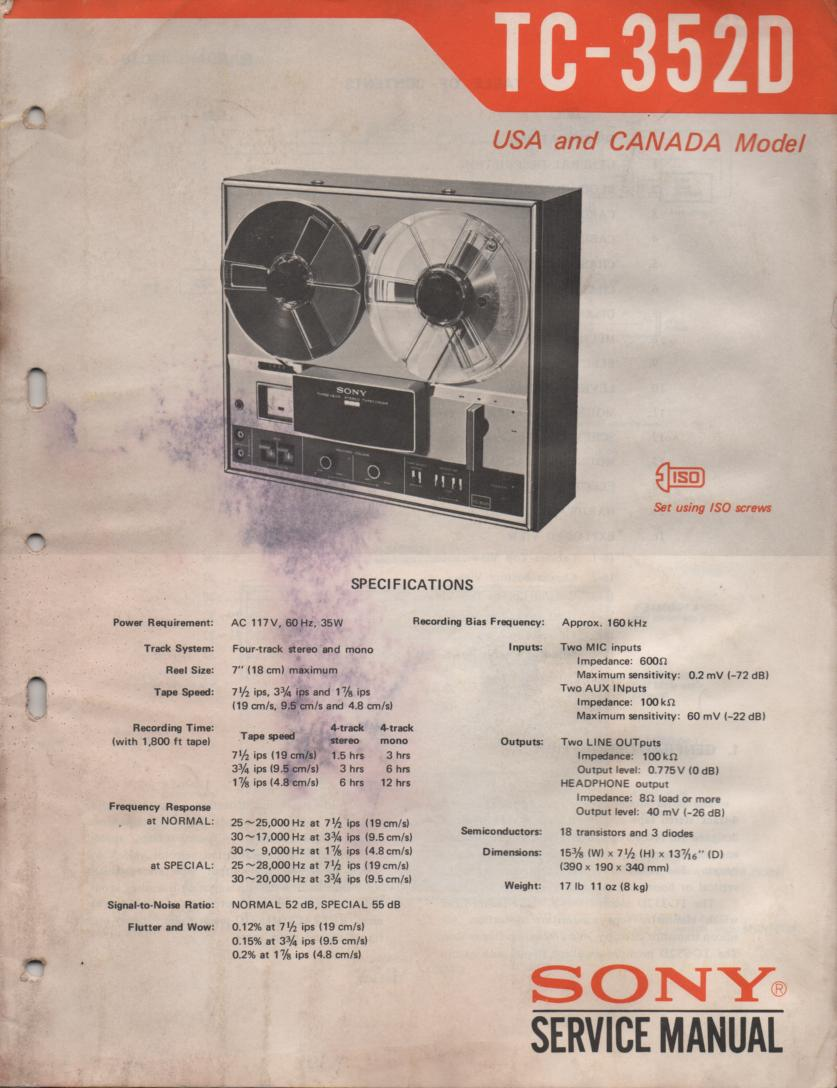TC-352D Reel to Reel Service Manual