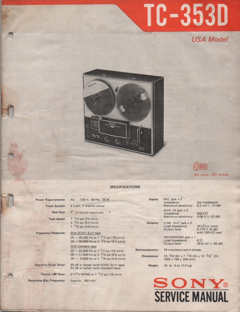 TC-353D Reel to Reel Service Manual