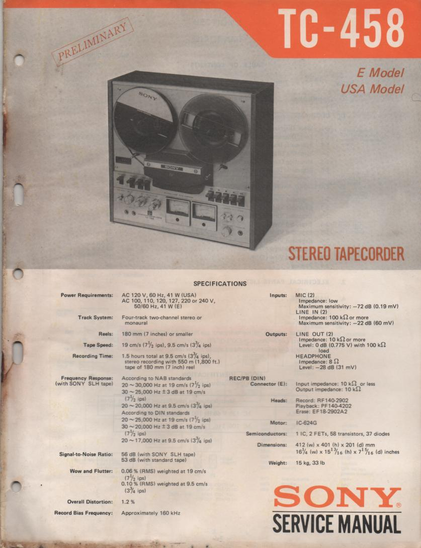 TC-458 Reel to Reel Service Manual