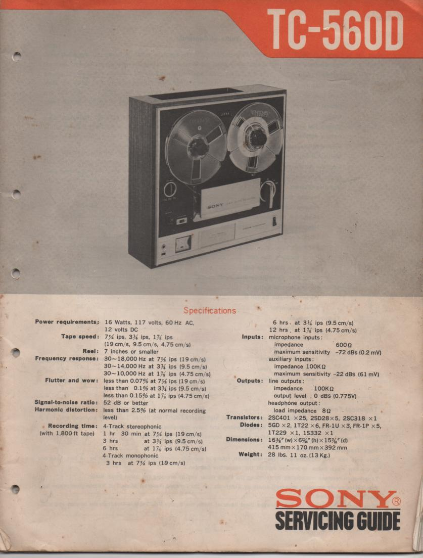 TC-560D Reel to Reel Service Manual