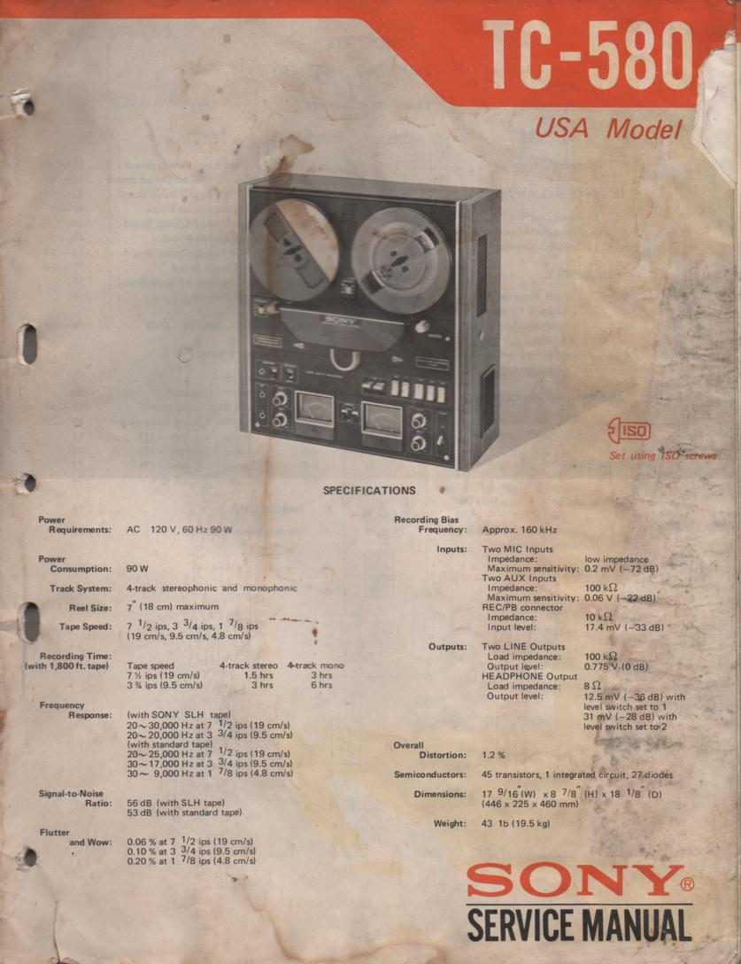 TC-580 Reel to Reel Service Manual