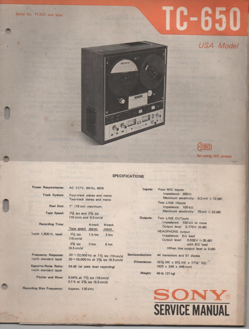 TC-650 Reel to Reel Service Manual