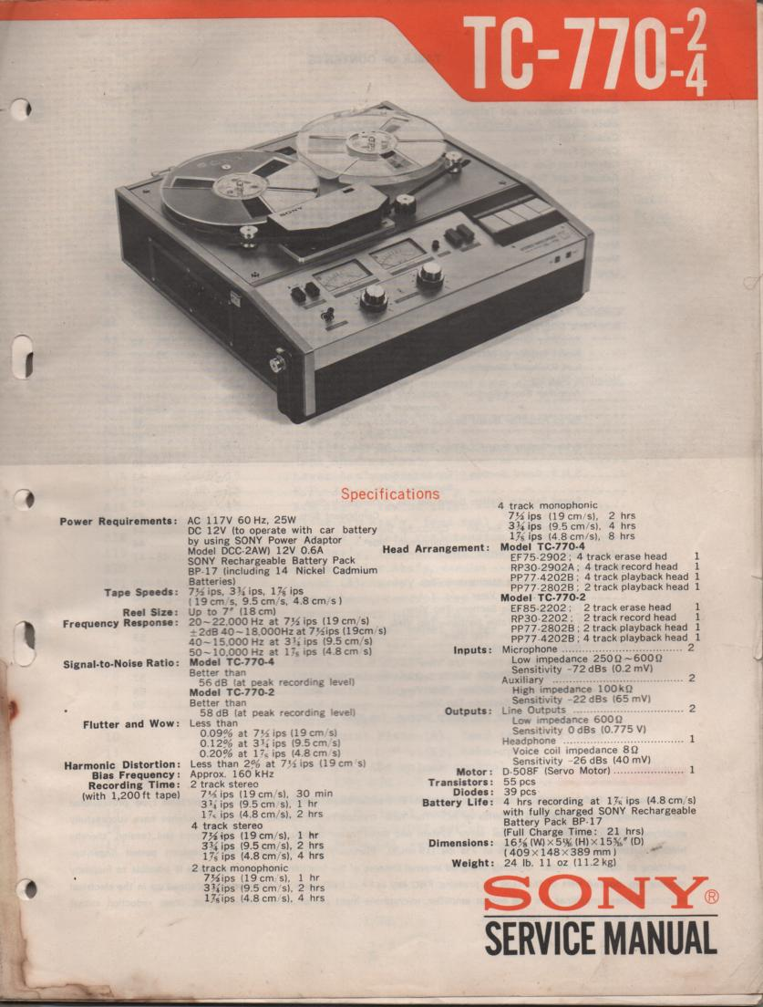 TC-770-2 TC-770-4 Reel to Reel Service Manual