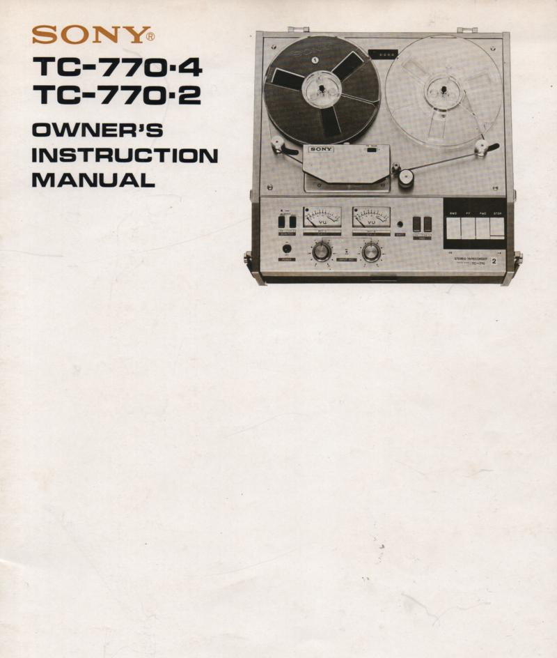 TC-770-2 -4 Reel to Reel owners Operating Instruction Manual