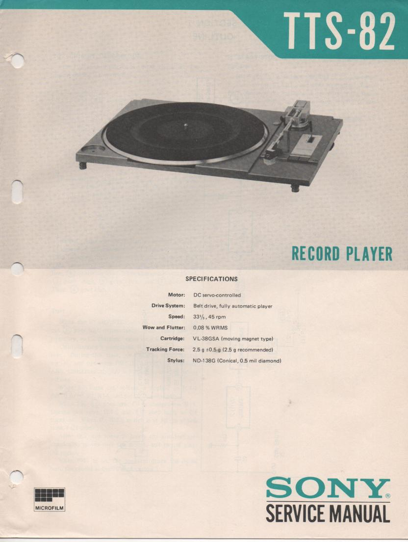 TTS-82 Turntable Service Manual