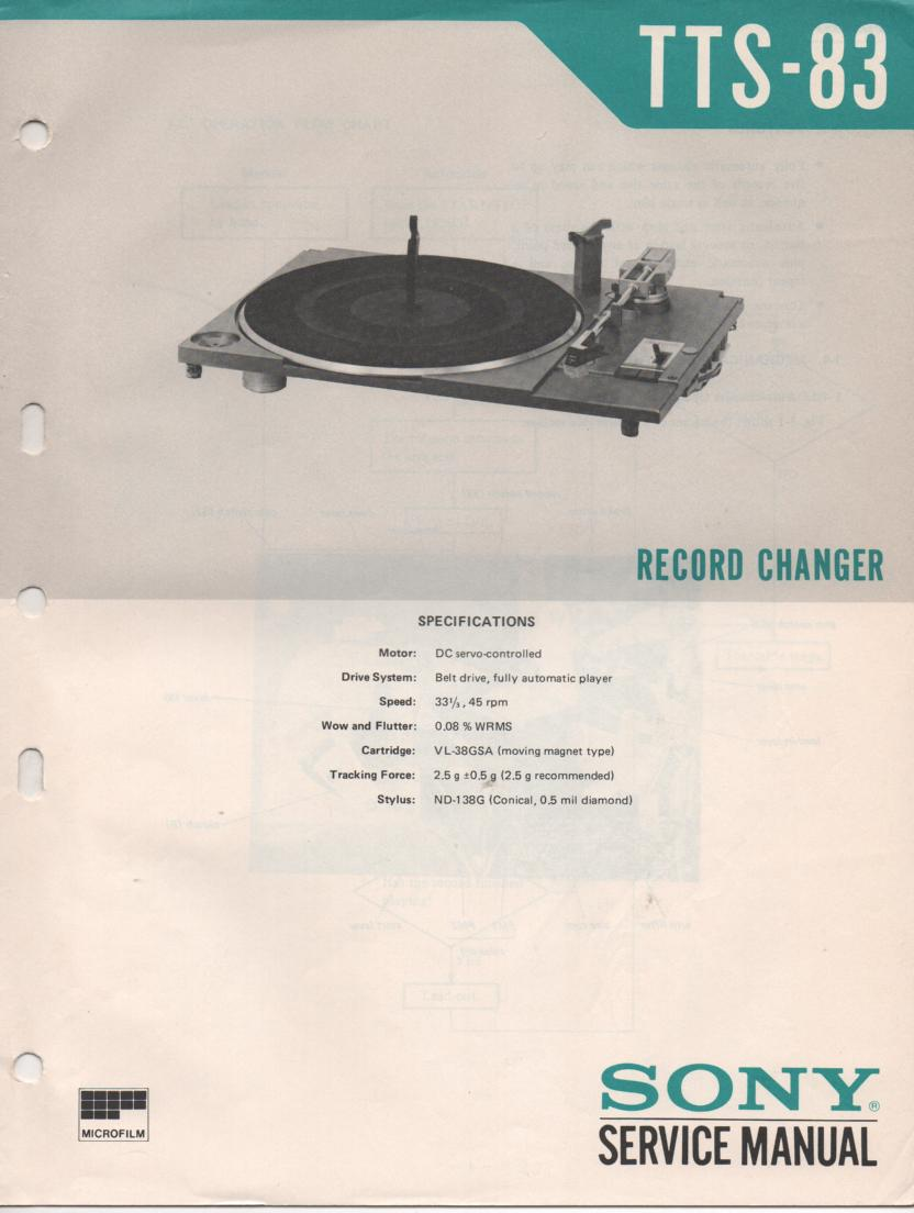 TTS -83 Turntable Service Manual