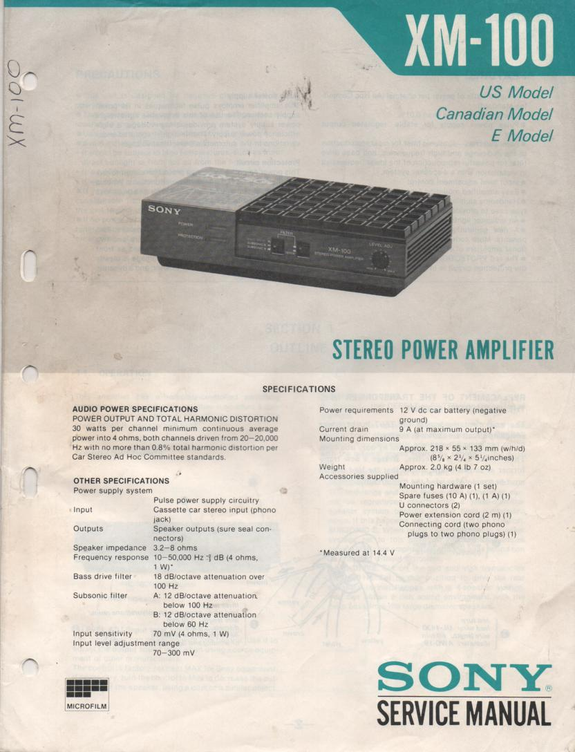 XW-100 Amplifier Service Manual