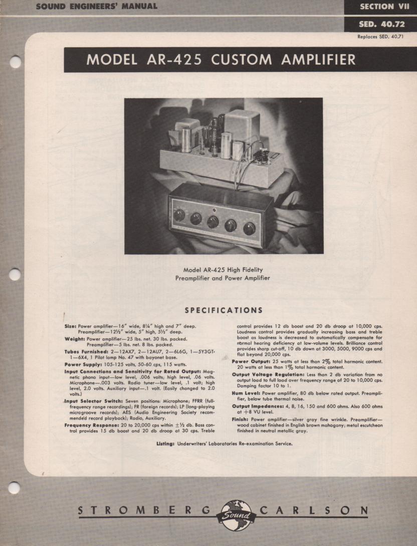 AR-425 Amplifier Service Manual
