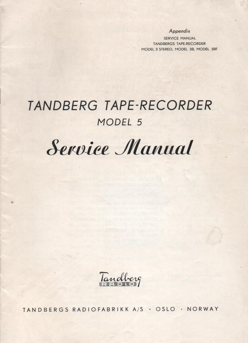 Model 5 Tape Recorder Service Manual..  Need manual Model 3 3B 3BF Tape Recorder Service Manual for complete manual.