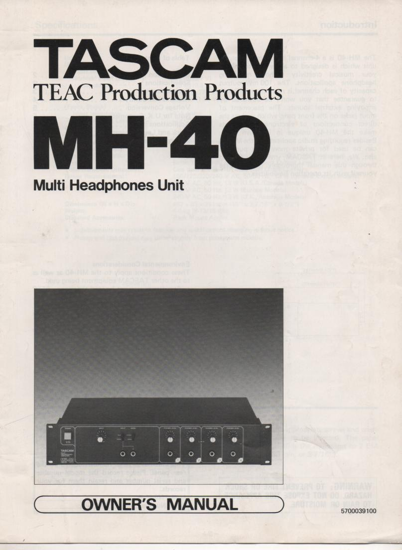 MH-40 Multi Headphone Unit Owners Manual with schematic