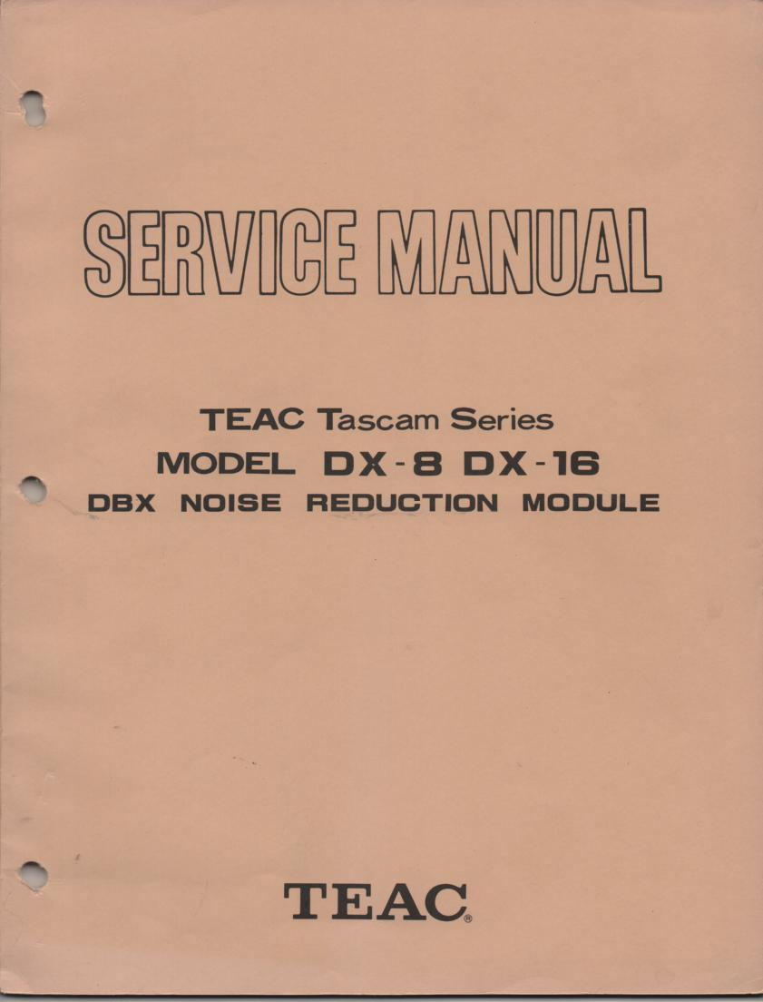 DX-8 DX-16 DBX Noise Reduction Module Service Manual