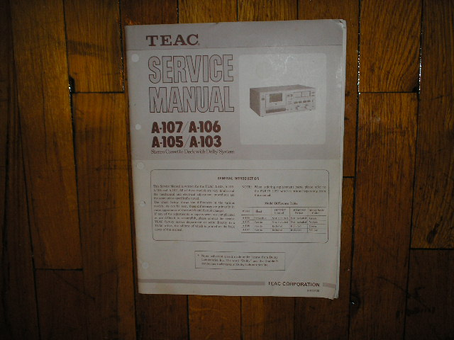 A-103 A-105 A-106 A-107 Cassette Deck Service Manual