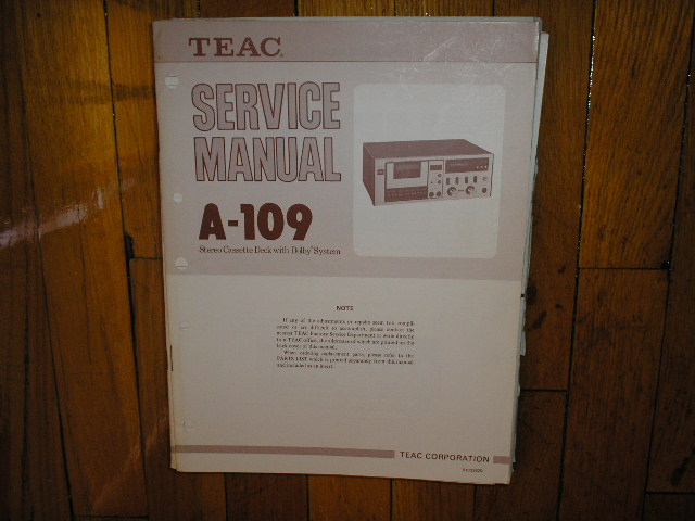A-109 Cassette Deck Service Manual. 2 Manuals