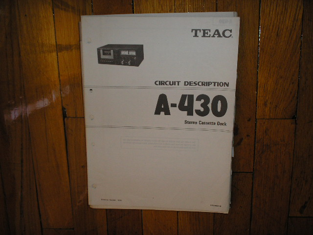 A-430 Cassette Deck Service Manual. Circuit Diagrams.. Schematics in manual 1