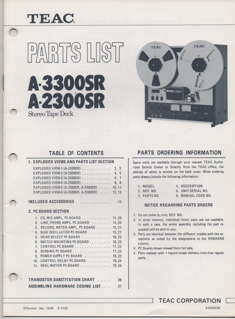 A-2300SR A-3300SR Reel to Reel Service Parts Manual Only