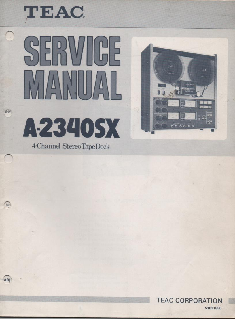 A-2340SX Reel to Reel Service Manual. 2 Manual set with foldout schematics.
