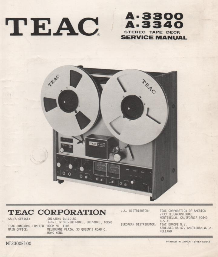 A-3340 A-3300 Reel to Reel Service Manual