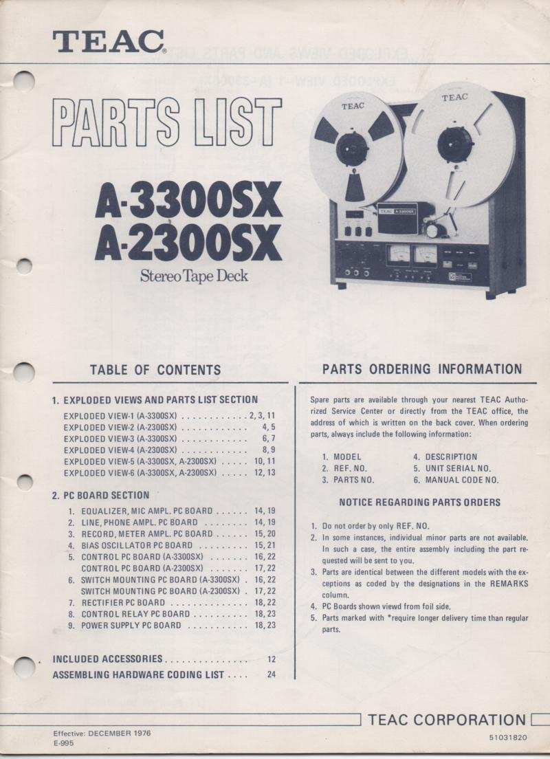 A-3300SX A-2300SX Reel to Reel Parts Manual Only