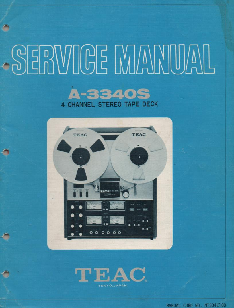A-3340S 1973 Reel to Reel Service Manual Set