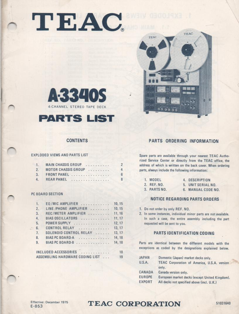 A-3340S 1975 Reel to Reel Parts Manual