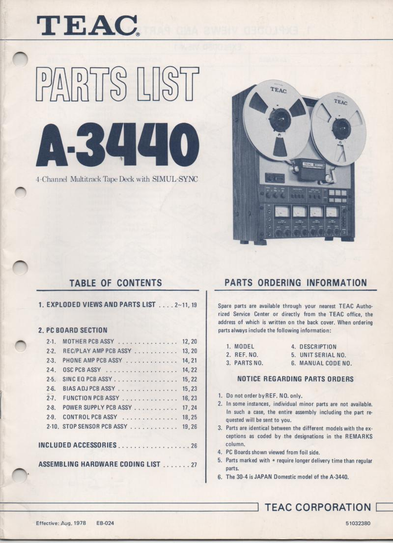 A-3440 Reel to Reel Parts Manual Only