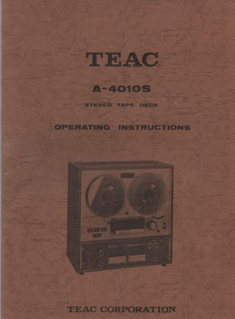 A-4010S Reel to Reel Operating Instruction Manual with Schematics