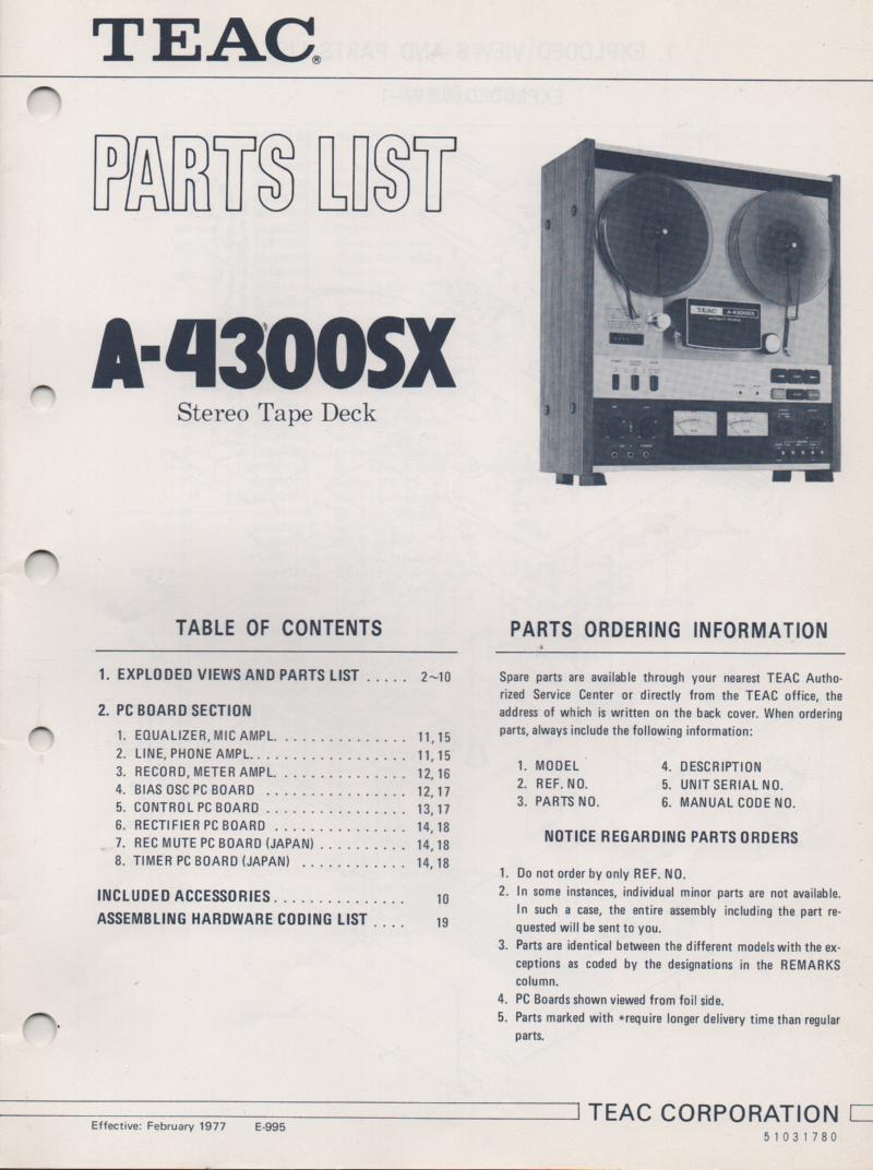 A-4300SX Reel to Reel Parts Service Manual Only