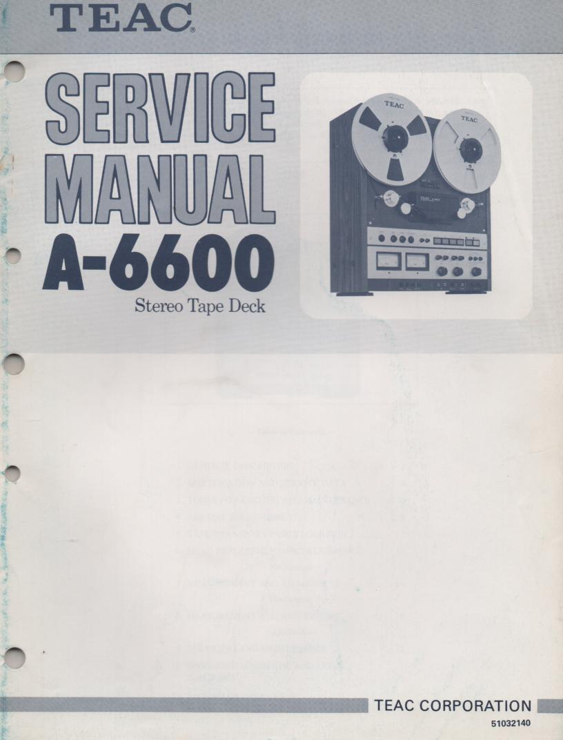 A-6600 Reel to Reel Service Manual Set