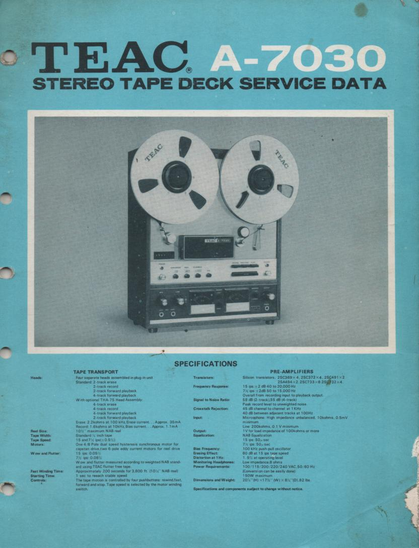 A-7030 Reel to Reel Service Manual