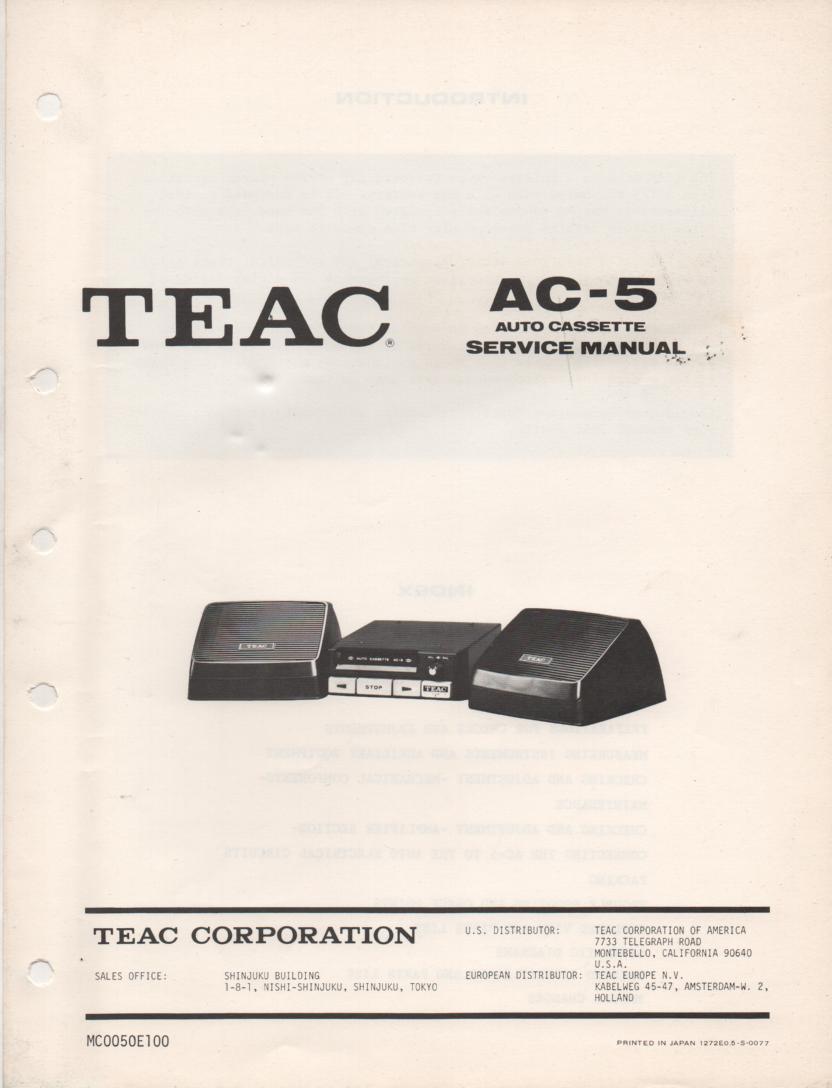 C-5 Auto Cassette Deck Servide Manual
