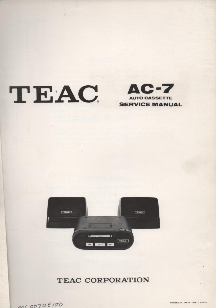 AC-7 Auto Cassette Deck Servide Manual