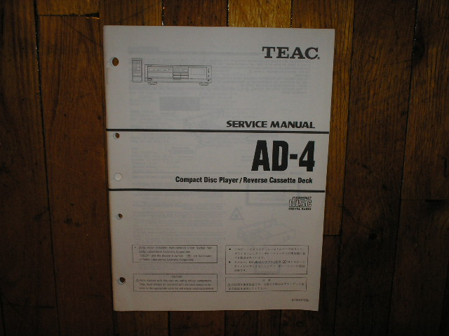 AD-4 CD Player Cassette Deck Service Manual
