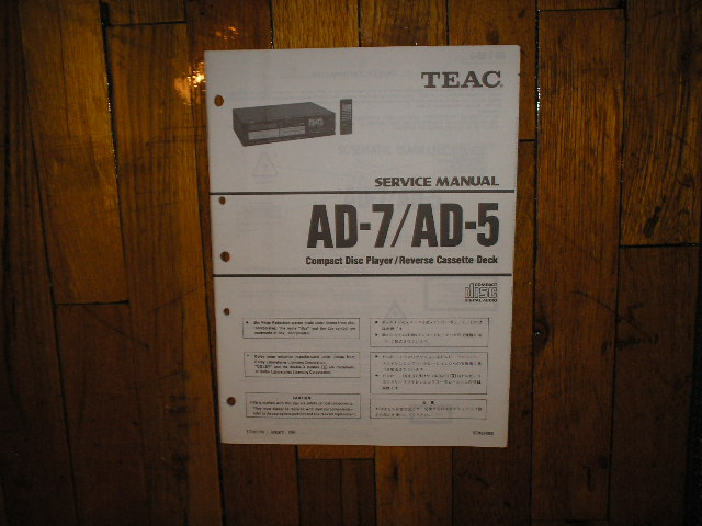 AD-5 AD-7 CD Player Cassette Deck Service Manual