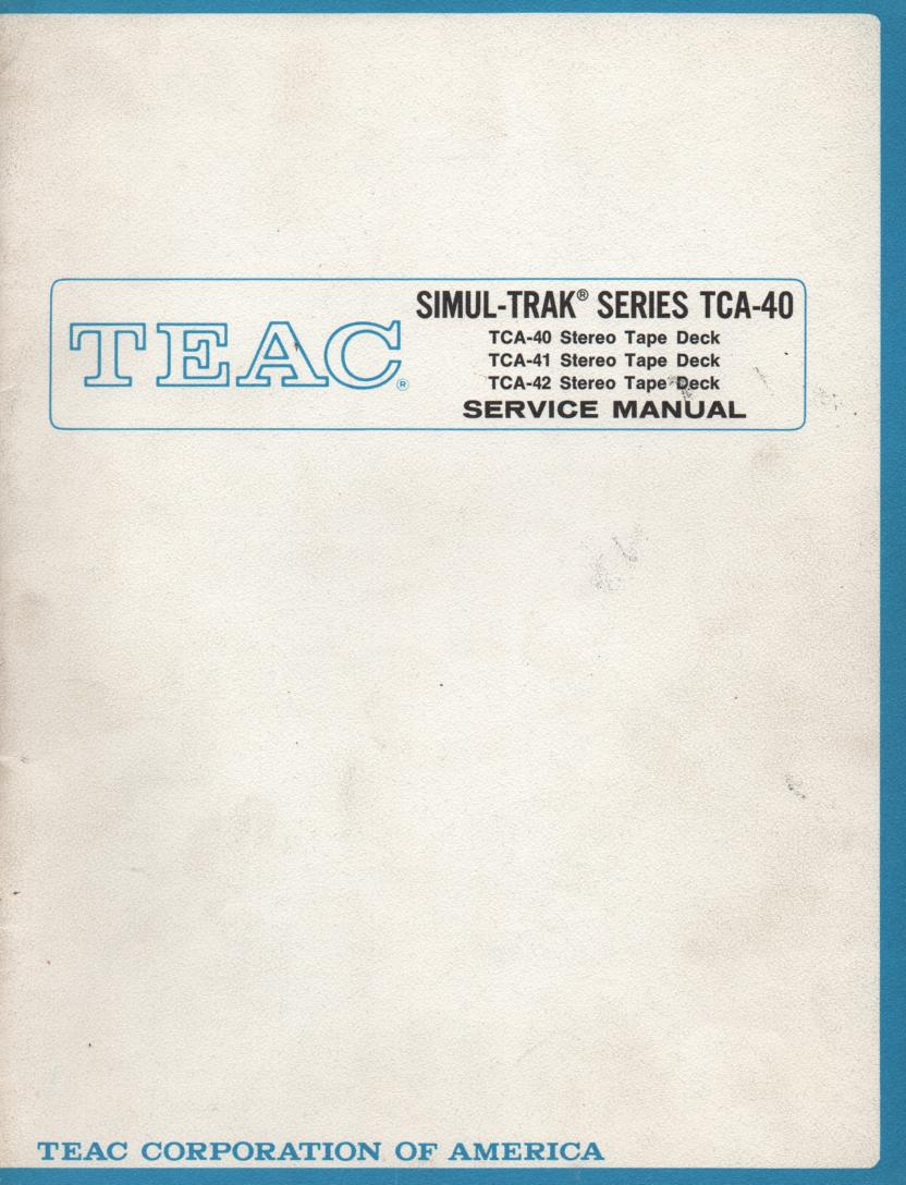 TCA-42 Reel to Reel Service Manual