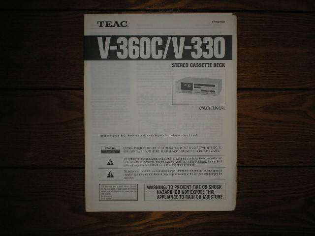 V-330 V-360C Cassette Deck Owners Manual
