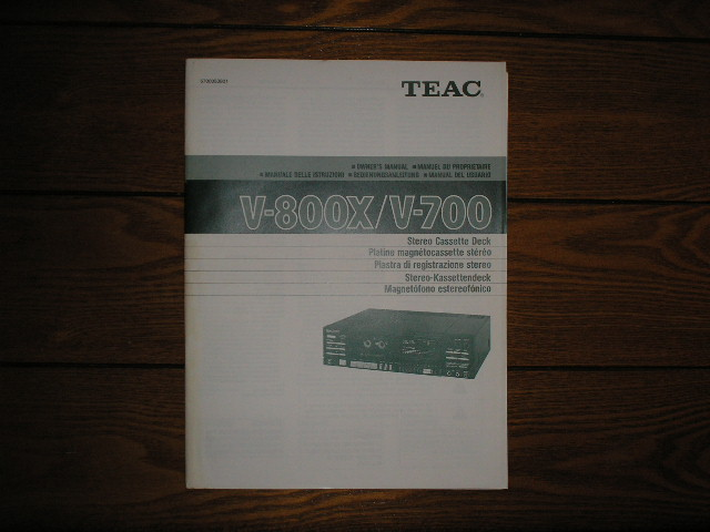 V-700 V-800X Cassette Deck Owners Manual