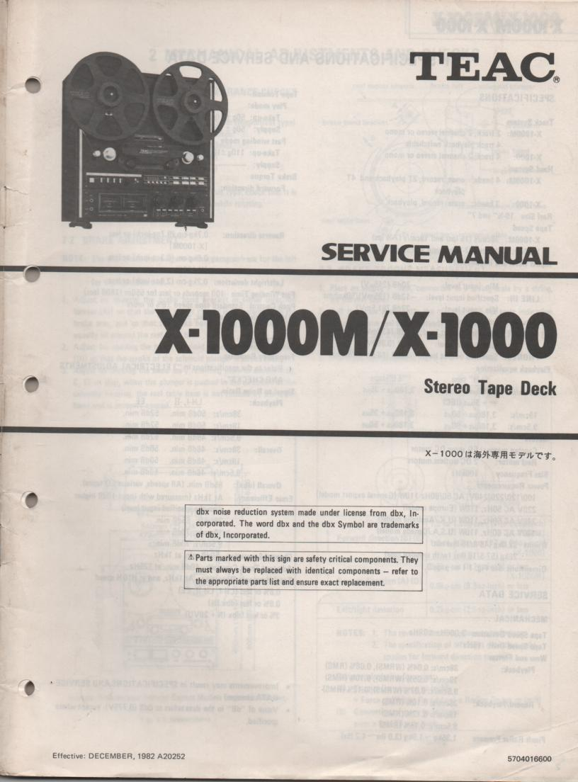 X-1000 X-1000M Reel to Reel Service Manual