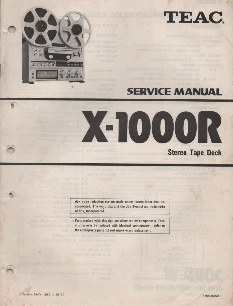 X-1000R Reel to Reel Service Manual