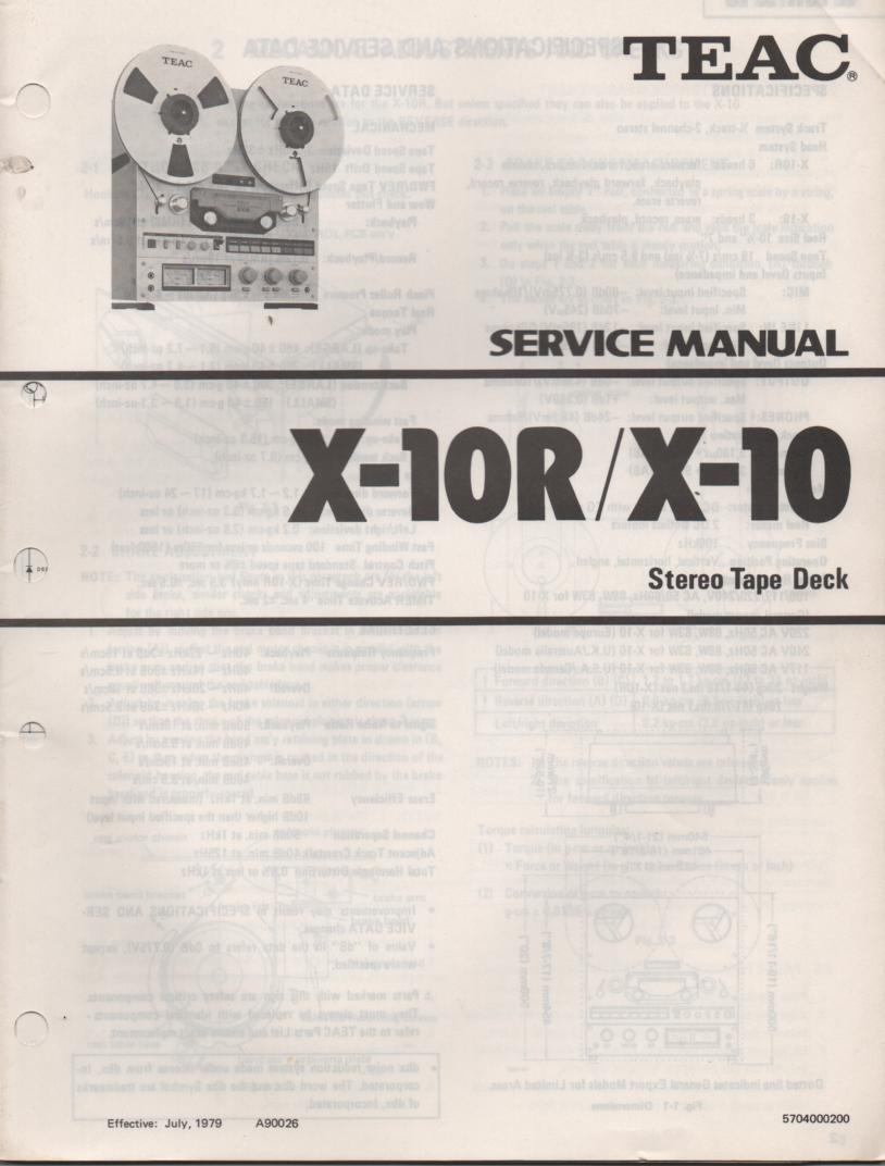 X-10 X-10R Reel to Reel Service Manual