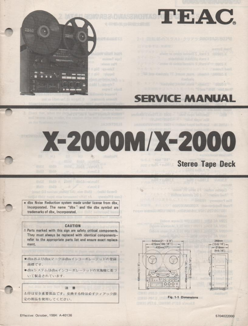 X-2000 X-2000M Reel to Reel Service Manual