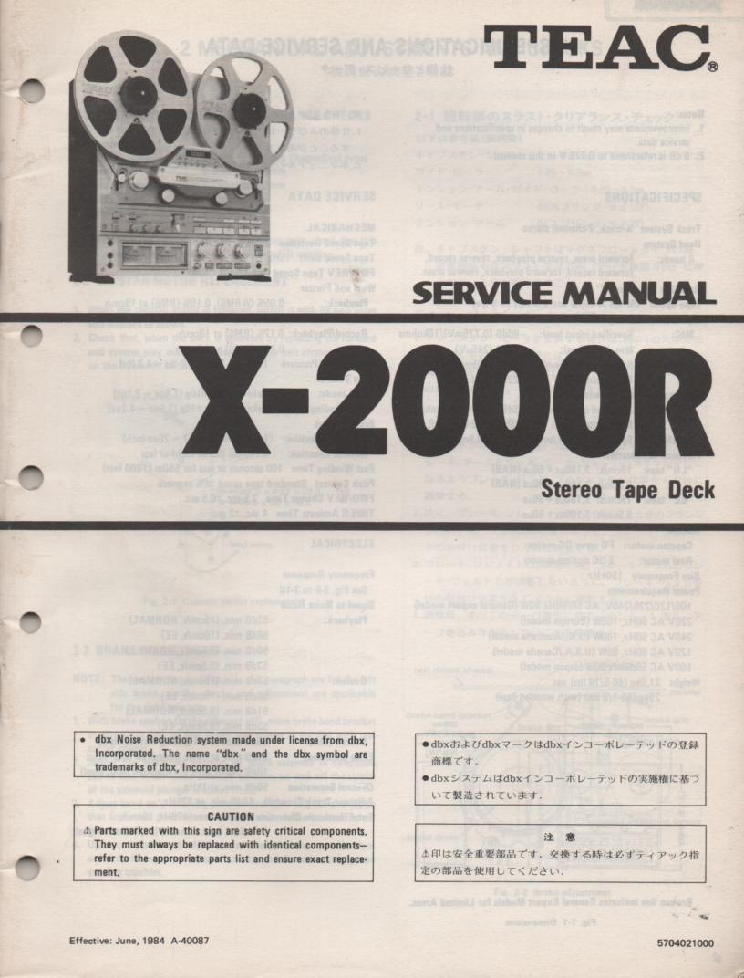 X-2000R Reel to Reel Service Manual