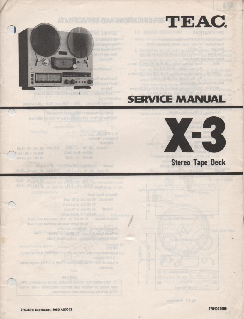 X-3 Reel to Reel Service Manual