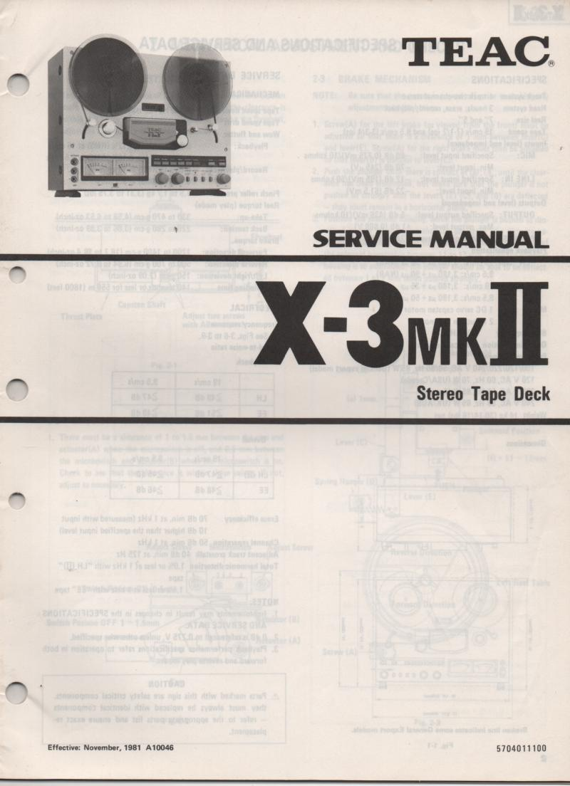 X-3MK II  Reel to Reel Service Manual