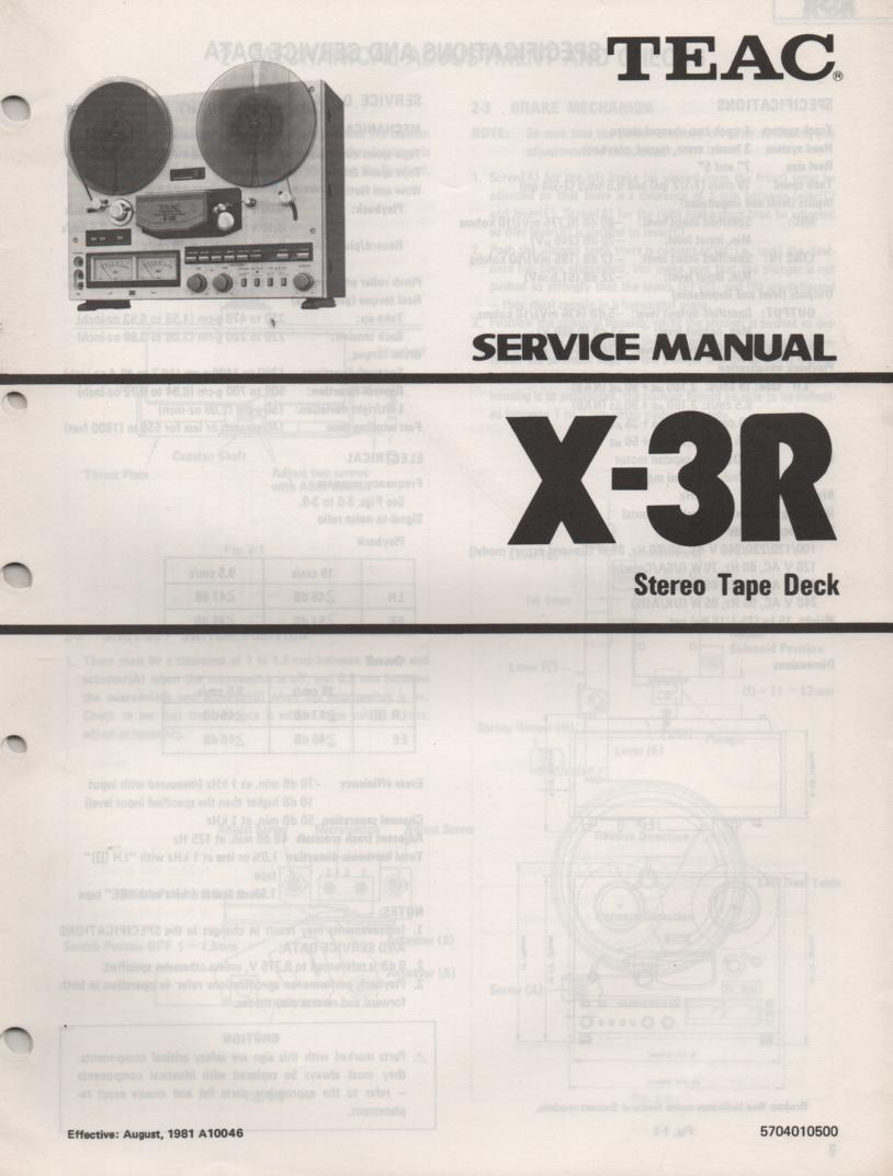 X-3R Reel to Reel Service Manual