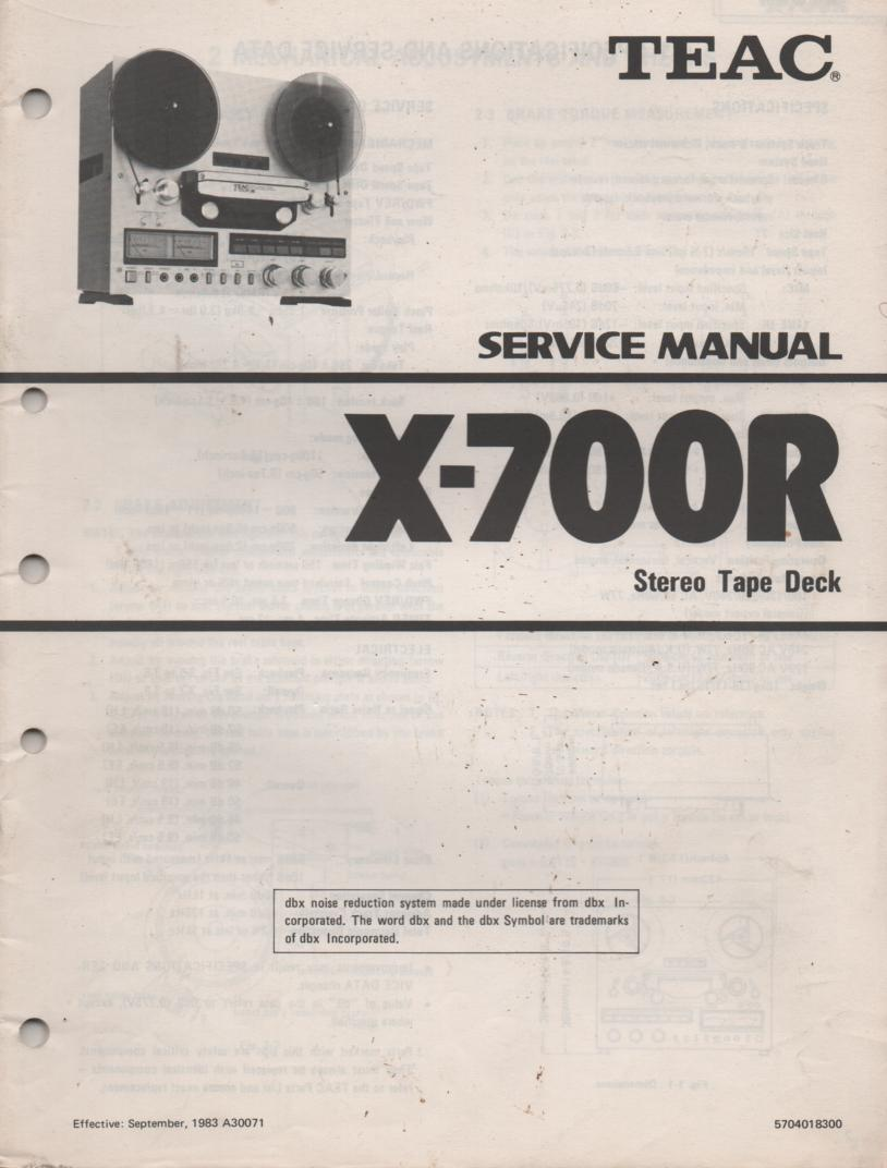 X-700R Reel to Reel Service Manual